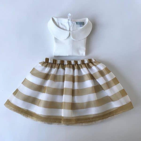 skirt stripedgoldcaramel